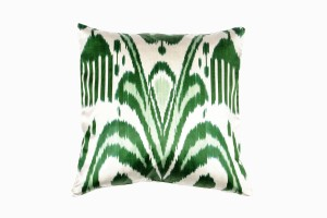vibrant green & cream cushion made from uzbeki ikat woven silk