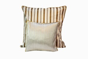 Middle eastern silk cushions with gold and taupe stripes