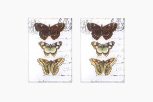 Glass decoupage butterfly dishes