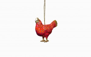 Brightly coloured hen red