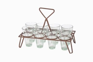 Rectangular chai holder with twisted metal frame, eight glasses