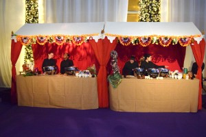 Single walkway units used as food stations at a Bollywood party