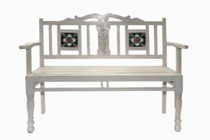Lodhi two seater white wooden bench