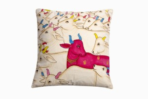 Kishangarh cushion Pink Holy Cow looking right