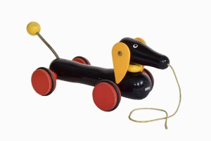 Silly vintage sausage dog toy
