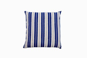 Blue striped Ikat cushion