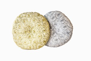 Gold and silver round embroidered cushions