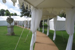 A walkway leading to the main reception tent