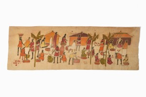Vintage African painting of a village scene on waxed cotton