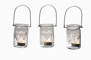 Hanging glass jar votives with hearts
