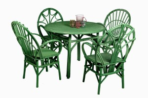 Green Bentwood table and chairs