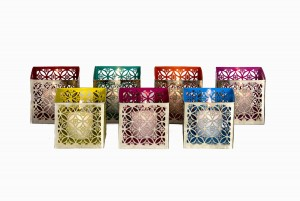 Square silver perforated votives