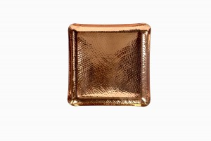 Food-safe square beaten copper tray