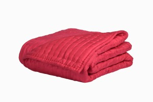 King size quilted silk bedspread red