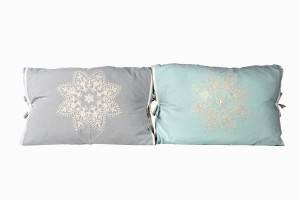 Grey and dove egg embroidered cotton cushions