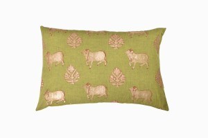 Holy cow rectangular green cushion