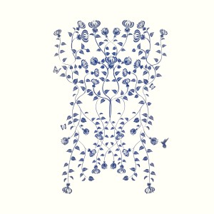 Indigo climbing flowers panel wall
