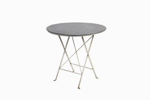 Round white bistro table with zinc top