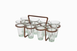 Rectangular chai holder with no outside frame, eight glasses