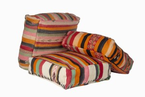 Moroccan striped wool pouffes