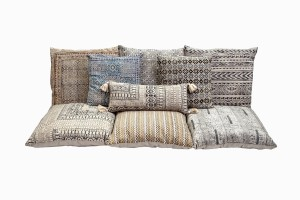 Indian cotton floor cushions in assorted sizes and patterns