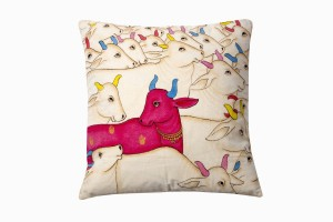 Kishangarh cushion Pink Holy Cow looking left