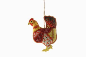 Embroidered hen decoration No 1