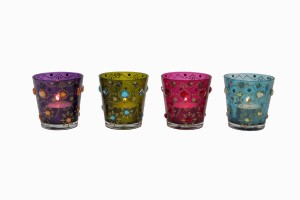 Jewelled coloured glass votives
