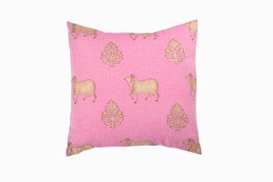 Holy cow square pink cushion