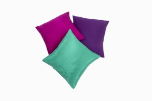 18 inch silk cushions, garnet, emerald and amethyst
