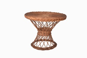 A vintage wicker table