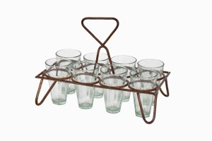 Rectangular chai holders with eight glasses