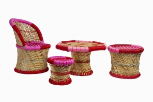 Pink childrens bamboo_cane furniture
