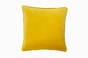 Square velvet cushion lemon
