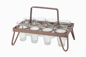 Rectangular chai holder with heavy metal frame, eight glasses