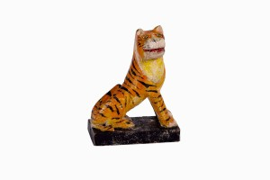 Hand carved and painted wooden tiger
