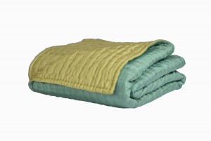 King size quilted silk bedspread spruce & chartreuse