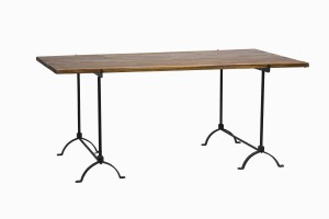 Wood and iron trestle table