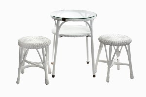 Wicker glass top table and stools