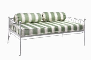 Palm Springs daybed white without canopy, and with handloomed stripe cushions