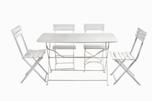 White metal rectangular bistro table No 1, and vintage chairs
