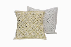 Gold and silver flower sequin cushions