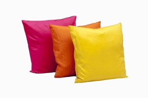 18 inch silk cushions, cerise, orange and citrine
