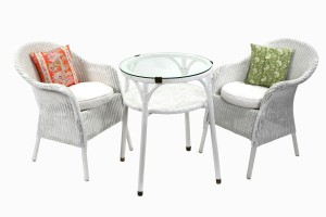 White wicker glass table and chairs