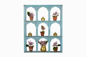 Nine window wooden plant stand