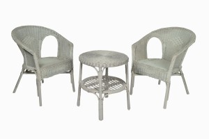 Sage green wicker table and chairs PG