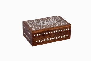 Small wooden box with bone inlay