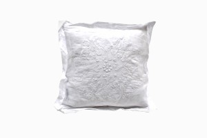 raj tent club, white organza cushion