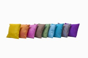 Selection of bright coloured silk 12 inch cushions
