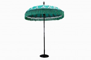 Balinese fringed parasol Mint Silver